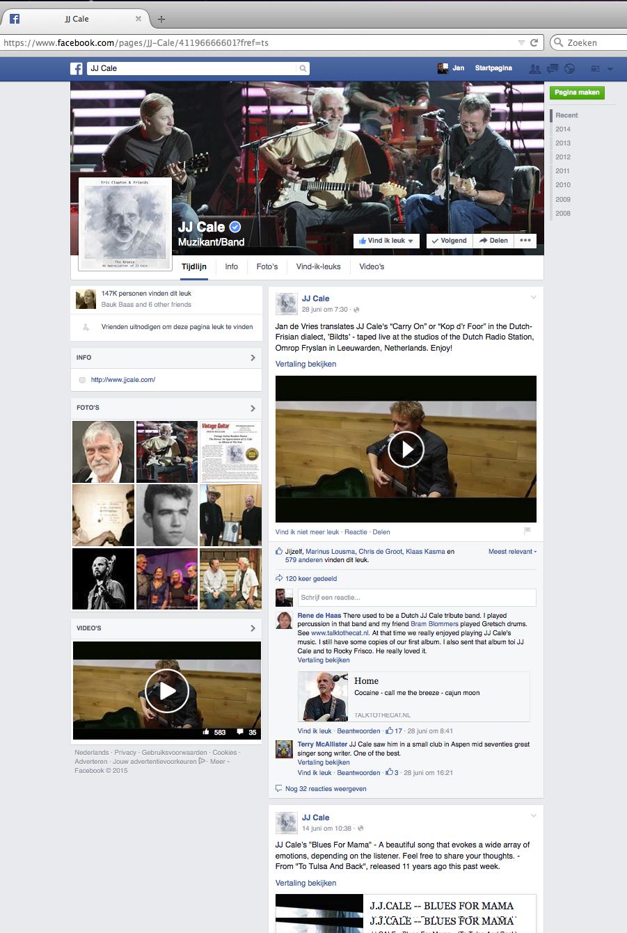 JdeV op facebook JJ Cale